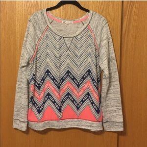 XL Jolt French terry & chiffon chevron sweatshirt
